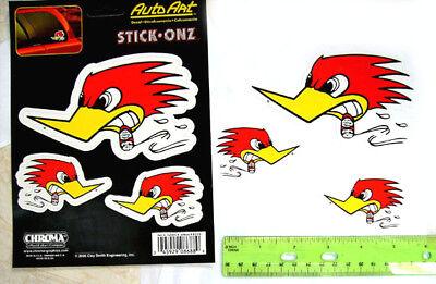 Woody Woodpecker - Mr  Horsepower - Peckerwood *STICKERS* Set of 3