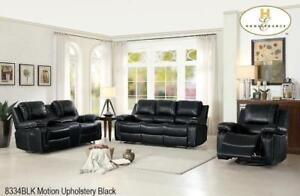 Comfy Black Leather Recliner Set with Headrests MA10 8334BLK-1 (BD-1361)