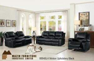 3pc Black Comfortable Recliner Set Featuring Motion Upholstery MA10 8884BLK-1 (BD-1364)