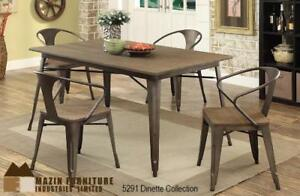 Dining set with a combination of metal and wood (MA402)