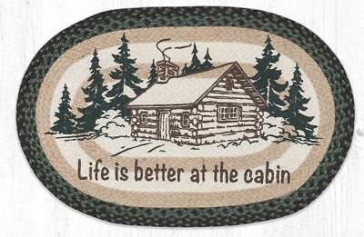 BRAIDED HAND STENCILED OVAL PATCH RUG By EARTH RUGS--LIFE IS BETTER AT THE