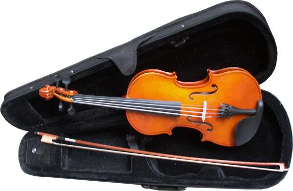 VIOLINE - GEIGE - NATUR - GRÖßENAUSWAHL im Set mit Koffer, Bogen, Kinnstütze xxx