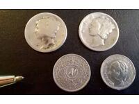 4 SMALL INTERESTING SILVER COINS