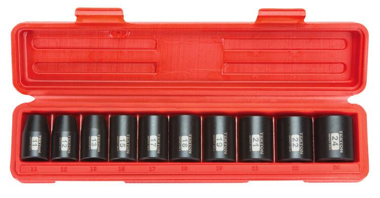 1/2-Inch Drive Shallow Impact Socket Set, Metric, Cr-V, 6-Point, 11 mm - 24 mm