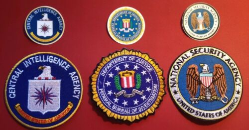 FBI, CIA & NSA patch set with free cell stickers