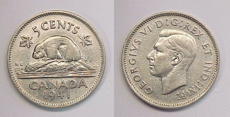 1941 Canadian Nickel Canada Five Cents AU Almost Uncirculated