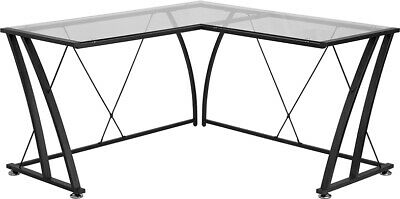 L-shape Computer Desk With Clear Tempered Glass Top Black Metal Frame