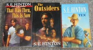 3 S.E. Hinton Books - Outsiders, Tex, That Was Then, This is Now
