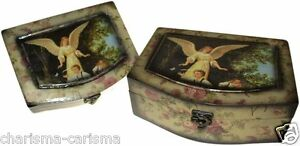 ANGEL boxes SET of 2 KEEPSAKE jewellery MAKE up  BOXES wooden BOXES bedroom HOME