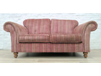 Contemporary Striped Fabric Scroll Arm Sofa (DELIVERY AVAILABLE)