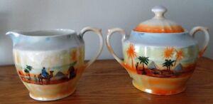 Vintage Lusterware creamer & sugar with lid Desert scene