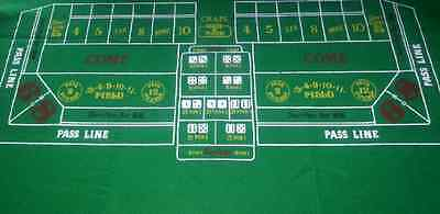 Dark GREEN CRAPS / DICE Casino Cloth - Layout - Baize Free P+P - Vivid Colours  - Craps Cloth