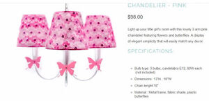 Chandelier PINK - for girls room - clearance price.