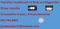 transfert de cassette vhs et 8mm sur disque dvd