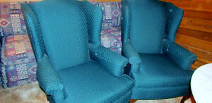 One Hunter Green Wing Back accent chair