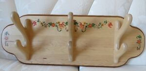 Porte-manteau mural, bois avec 3 crochets Wall mounted coat rack