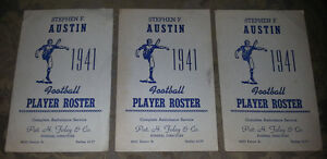 1941 NCAA AUSTIN FOOTBALL ROSTER CARD / Lot of 3 Antique