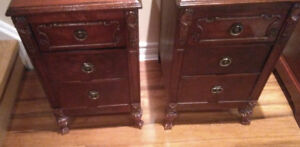 ANTIQUE SOLID HARDWOOD END TABLES EARLY 1900s