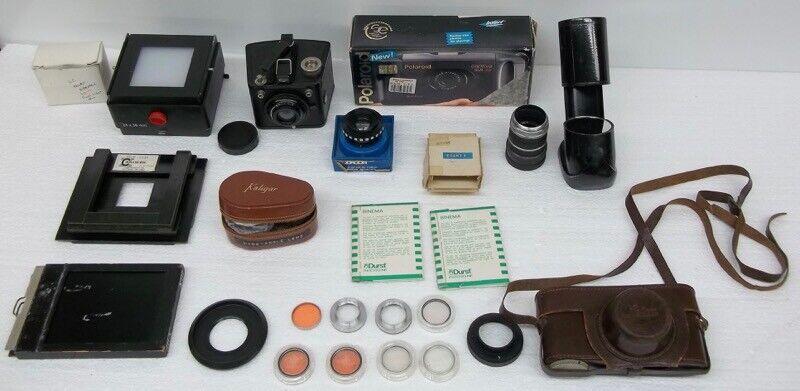 VTG Mixed Photography + Accessory Lot Durst Tiffen Magna Sights Kaligar Rodagon