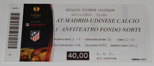 old TICKET EL Atletico Madrid Spain - Udinese Calcio Italy - <span itemprop=availableAtOrFrom>Poznan, Polska</span> - old TICKET EL Atletico Madrid Spain - Udinese Calcio Italy - Poznan, Polska