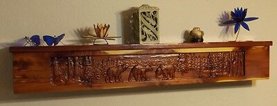 Carved Wood Fireplace Mantel Shelf (Carved Fireplace Mantel  /Cedar/Shelf/ Rustic /Wood/ Cabin/ Lodge /Log Furniture )