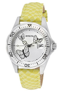 Invicta-Watch-12516-Womens-Pro-Diver-Silver-Dial-Lime-Genuine-Calf-Leather