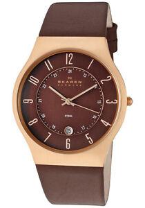Skagen-Watch-233XXLRLD-Mens-Slimline-Brown-Dial-Brown-Genuine-Leather