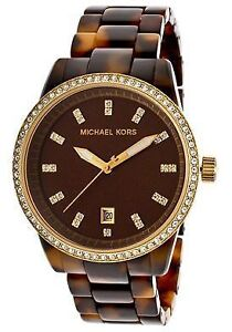 Michael Kors Watch Tortoiseshell with Gold/Crystal - Firm Price