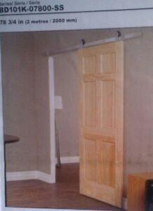 3 - Model BD101K-07800-SS, 6.6 ft closet barn door Hardware Kits