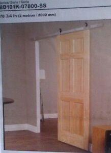3 Closet Barn Door Hardware Kits-Model BD101K-07800-SS, 6.6 ft