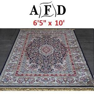 "NEW AFD BLUE ORIENTAL RUG - 124072399 - ART FRAME DIRECT POWER LOOM MADE 6'5""x10'"