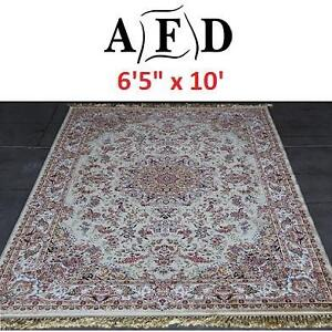"NEW IVORY AFD ORIENTAL RUG - 124053752 - ART FRAME DIRECT POWER LOOM MADE 6'5""x10'"
