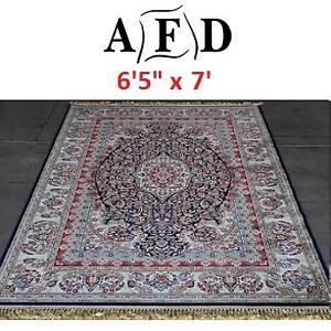 "NEW AFD BLUE ORIENTAL RUG - 124065452 - ART FRAME DIRECT POWER LOOM MADE 6'5""x7'"