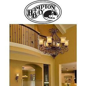 NEW 6 LIGHT HANGING CHANDELIER - 124953537 - HAMPTON BAY FREEMONT ANTIQUE BRONZE LIGHTING