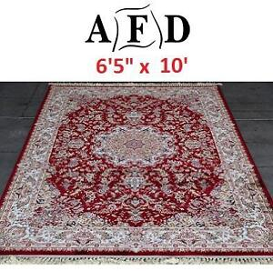 "NEW AFD RED ORIENTAL RUG - 124091312 - ART FRAME DIRECT POWER LOOM MADE 6'5""x10'"