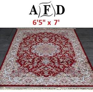 "NEW AFD RED ORIENTAL RUG - 124083700 - ART FRAME DIRECT POWER LOOM MADE 6'5""x7'"