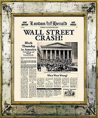 Fine Art Newspaper Front Page From London Herald By Brookpace Wall Street Crash