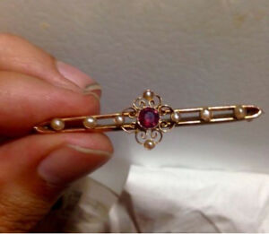 Victorian era 9k gold seed pearl and ruby brooch