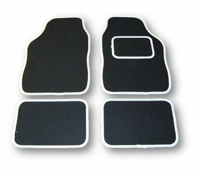 FIAT PUNTO ALL MODELS UNIVERSAL Car Floor Mats Black Carpet  White Trim