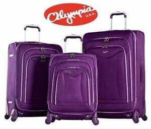 NEW OLYMPIA LUXE 3PC SPINNER SET   DEEP PURPLE LUGGAGE SUITCASE SPINNER SET BAGGAGE TRAVEL GEAR 93065923