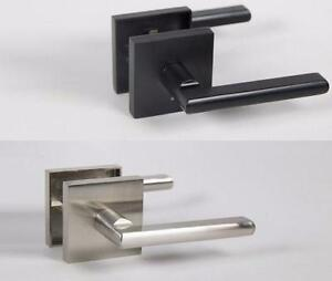 Halifax Door Lever Set with Push Button Lock Square Rose