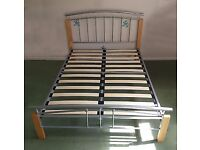 wooden metal double bed frame + Matress