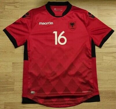 OFFICIAL MACRON ALBANIA 2016 2017 HOME Football Jersey Kit Shirt  image