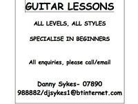 Guitar lessons, all levels/styles