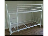 Bunk bed; Ikea white metal frame: Belfast