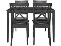 New Black table and 4 cross back chairs--black