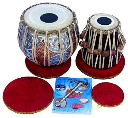 SAI Musicals Tabla Drum Set, Concert Quality, 2.5Kg Copper Bayan - Double Color,