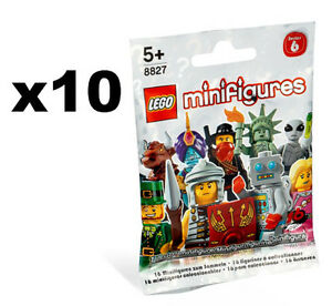 LEGO LOT OF 10 SEALED SERIES 6 MINIFIGURE BAGS PACKS 8827 RANDOM FIGURES