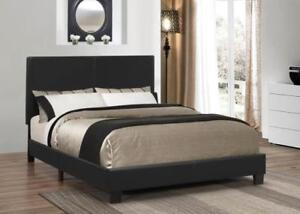 Black  Faux leather  Platform Bed