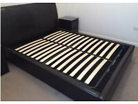 DOUBLE BLACK LEATHER OTTOMAN BED AND MATTRESS **IMMACULATE CONDITION**